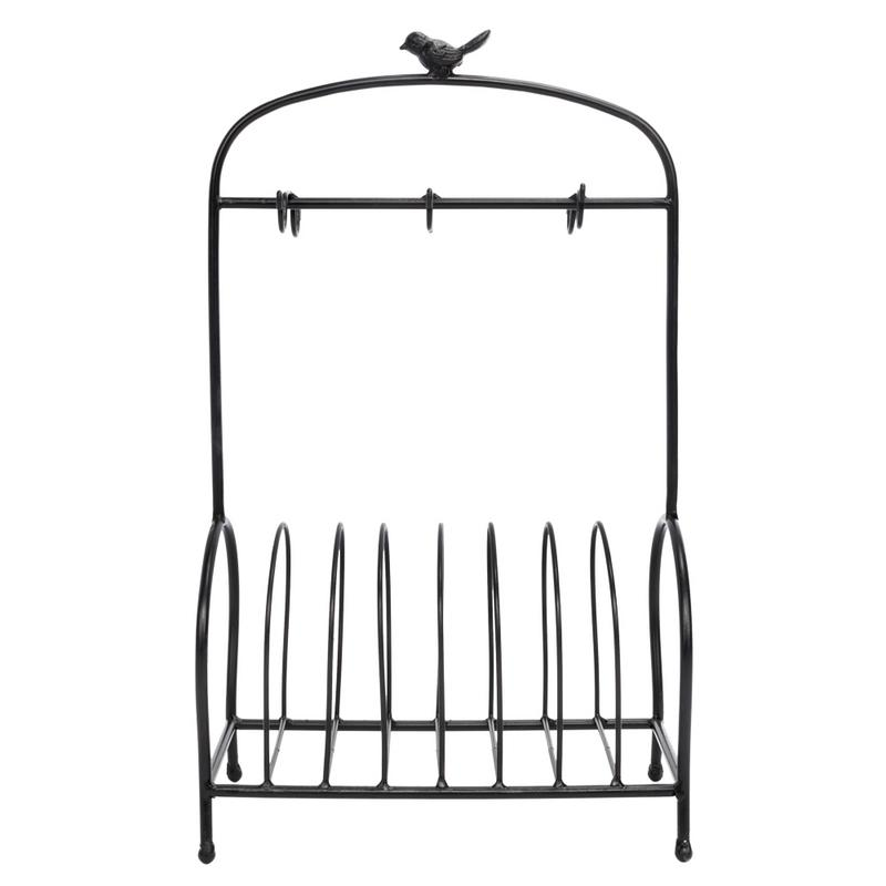Bird Cage Shape Black Table Meal Tray Holder Modern Durable High Quality Iron Frame Table Meal Tray Holder Large Capacity