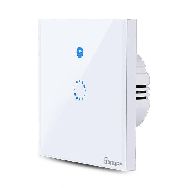 SONOFF T1 única banda WiFi y RF 86 tipo de pared inteligente táctil interruptor de la luz de Control remoto de lámpara Panel interruptor de tiempo interruptor de pared