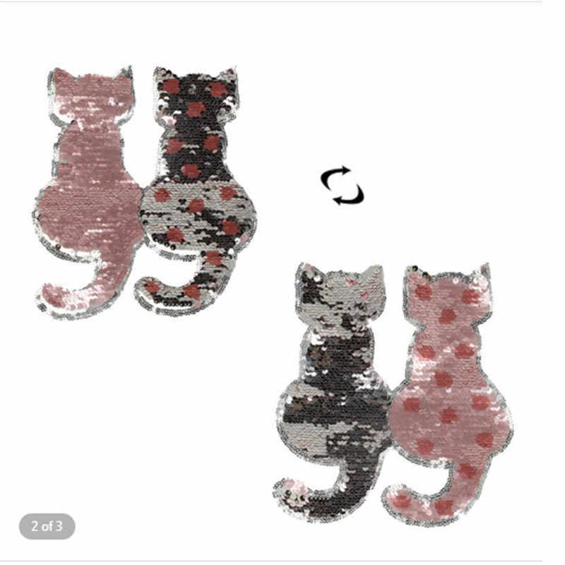 Gatto Paillettes Può Essere Capovolto Zona Del Ricamo di Abbigliamento FAI DA TE Applique Vestiti di Patch Pasta di Pizzo Ricamato Accessori 50