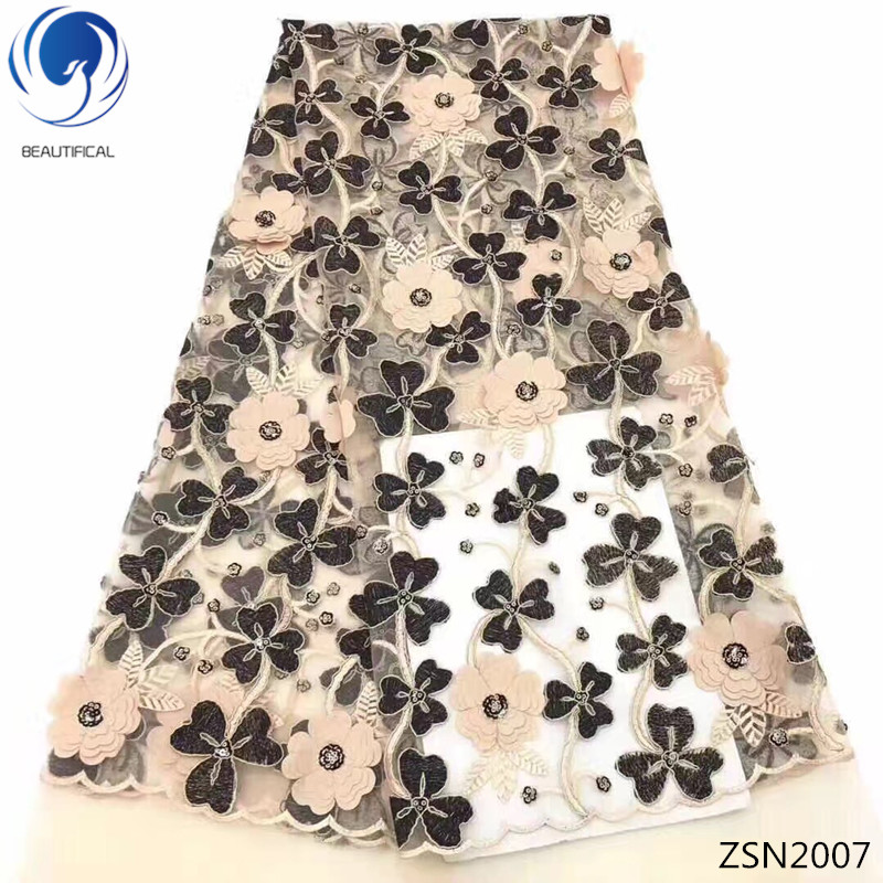Beautifical 3d lace fabrics with beads 2018 new design tulle lace fabric 3d Appliqued for women lace dresses 5yards/lot ZSN20Beautifical 3d lace fabrics with beads 2018 new design tulle lace fabric 3d Appliqued for women lace dresses 5yards/lot ZSN20