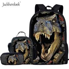 Jackherelook 3D Printing Kids School Bags Set 3PCS Boys Cool Tyrannosaurus Rex Dinosaur Backpack Child Student Shoulder Book Bag