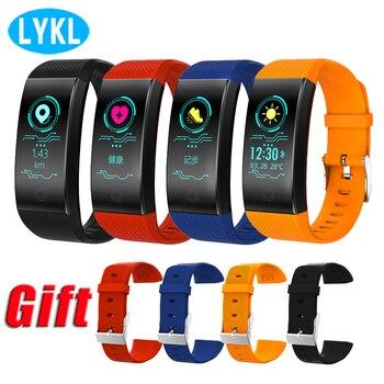 78154fca5118 LYKL QW18 pulsera inteligente Monitor de ritmo cardíaco IP68 Color  impermeable pantalla rastreador de Fitness banda reloj de deportes al aire  libre ...