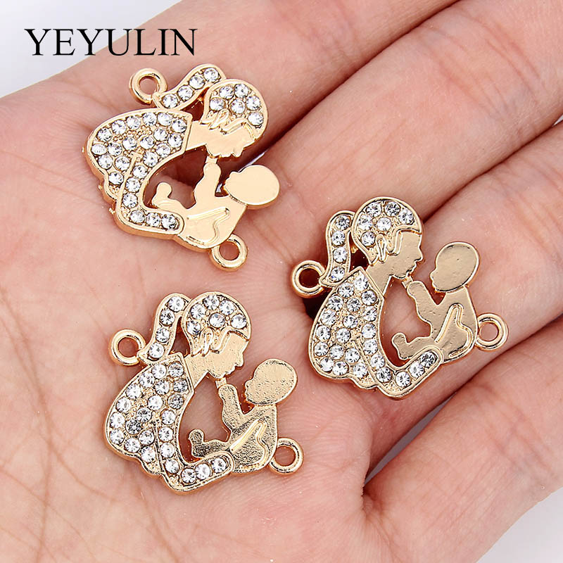 10 Pcs Alloy Crystal Connectors Bracelet Charm Gold Women Hold Baby Shape Jewelry Accessories For Making Drop Necklace