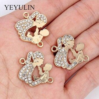 10 Uds. Conectores de aleación de cristal, pulsera de oro, colgante para mujer, accesorios de joyería en forma de bebé para hacer collar de gota