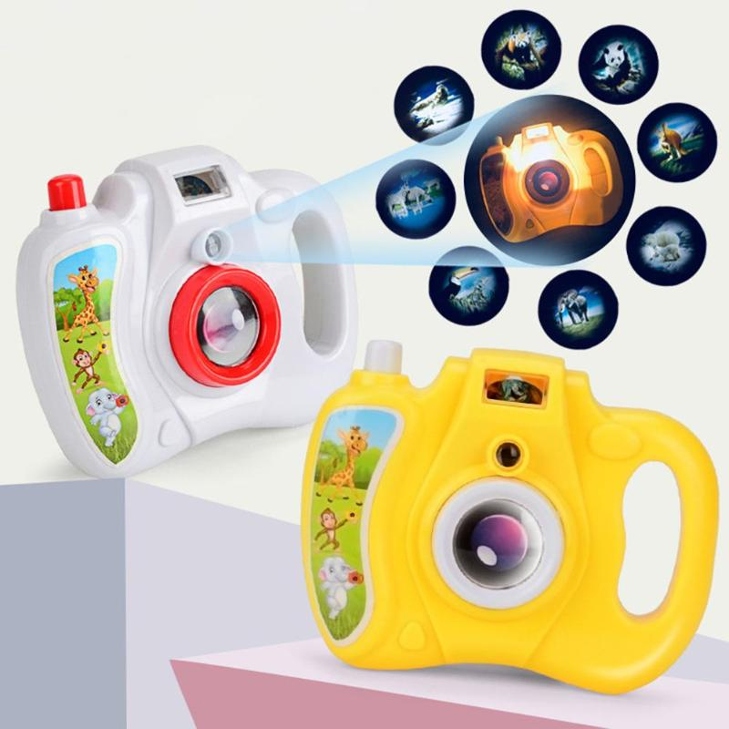 Fashion Cartoon Simulation Eight Light Patterns Projection Camera Projection Kid Educational Toys Gift For Children Random Color