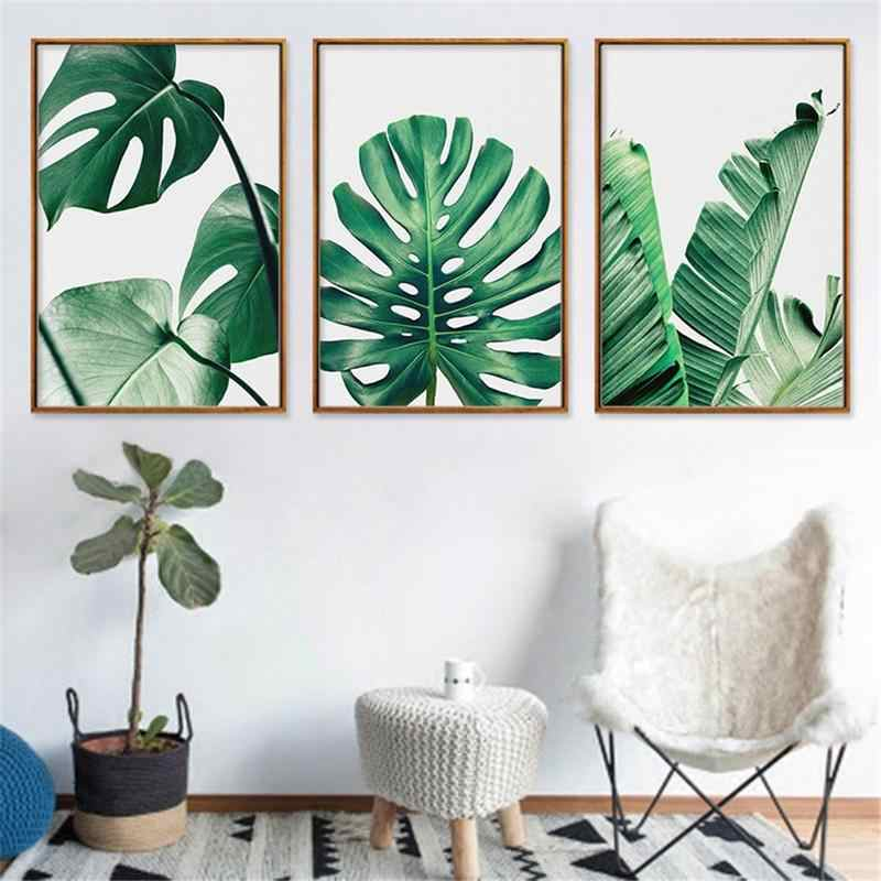 Nordic Style Green Plant Leaves Monstera Canvas Painting Leaf Micro-jet Printing Core Painting Frame-less Wall Stickers