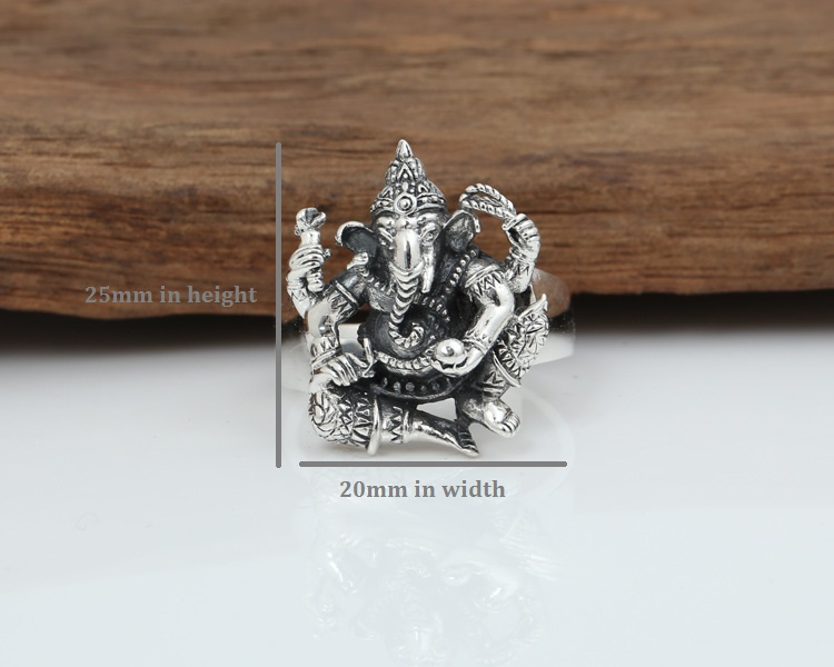 Image 5 - Handmade 925 silver ring elephant fortune buddha finger ring  vingtage sterling silver good luck ring Thailand Ganesh ringfinger  ringjewelry rings925 silver ring