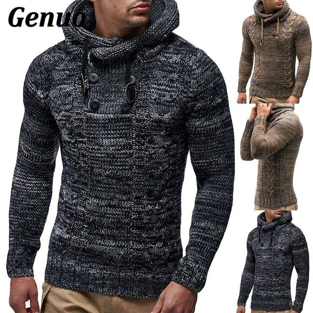 Genuo Men Sweaters 2018 New Autumn Warm Button Sweaters Man Casual Knitwear Winter Men Hooded Sweatwer Pullovers treetwear XXL