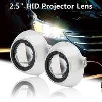 2Pcs LHD Car Motor Mini for HID Projector Lens Angle Eye Halo Lens Kit Retrofit Hi/Lo Beam Headlight Bulb Shroud