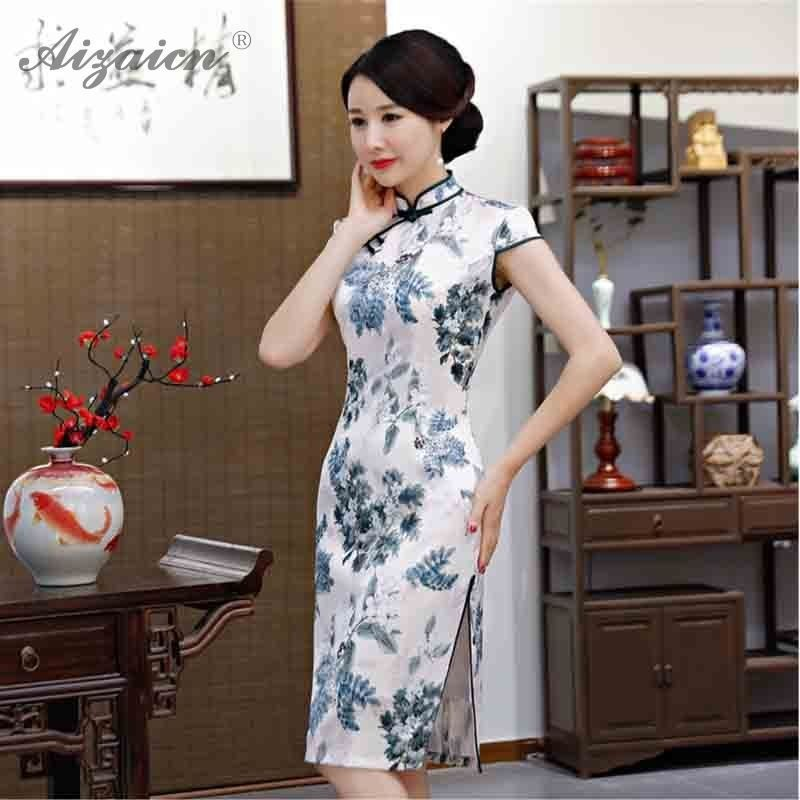 New Printng Cheongsam Elegant Double deck Long Qi Pao Women Chinese Traditional Clothing Oriental Style Similar Silk Dress Robe in Cheongsams from Novelty Special Use