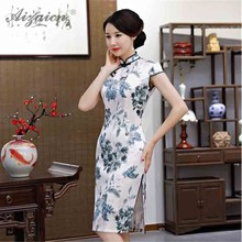 New Printng Cheongsam Elegant Double-deck Long Qi Pao Women Chinese Traditional Clothing Oriental Style Similar Silk Dress Robe