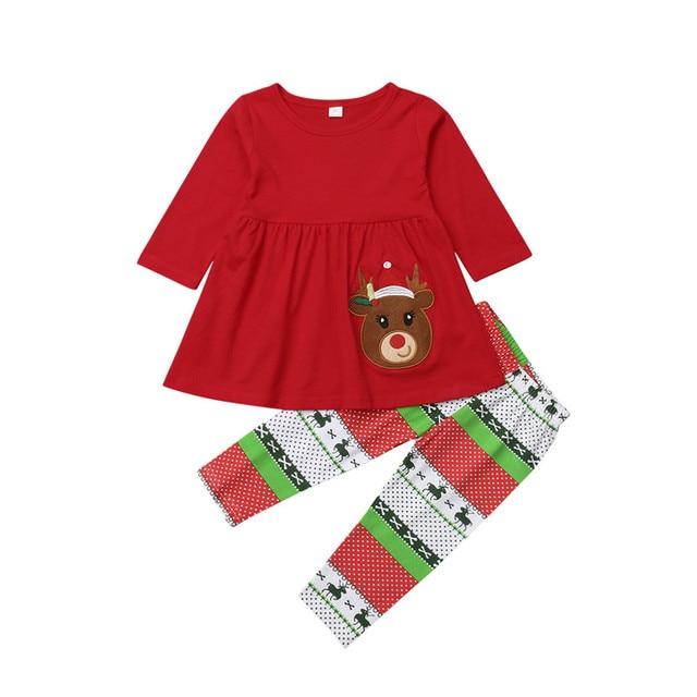 492c80c6e Niño niños niña ropa Set otoño manga larga ciervos camiseta Top vestido  Navidad pantalones Niñas Ropa