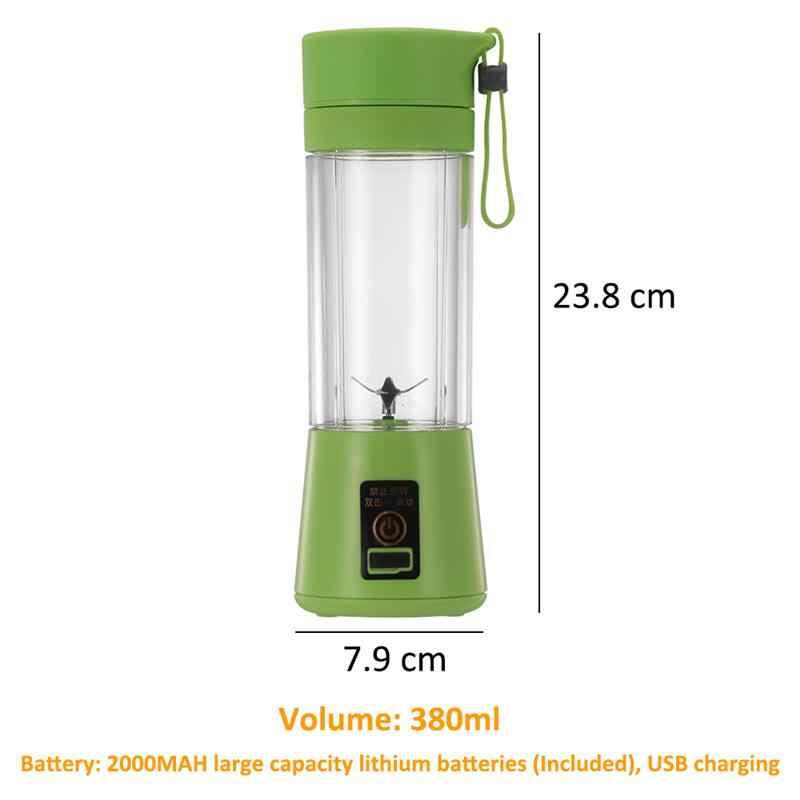 380 ml Portátil 6 Lâminas Liquidificador Espremedor USB Recarregável Elétrica Automática Fabricante de Suco de Frutas Cítricas Laranja Copo Misturador
