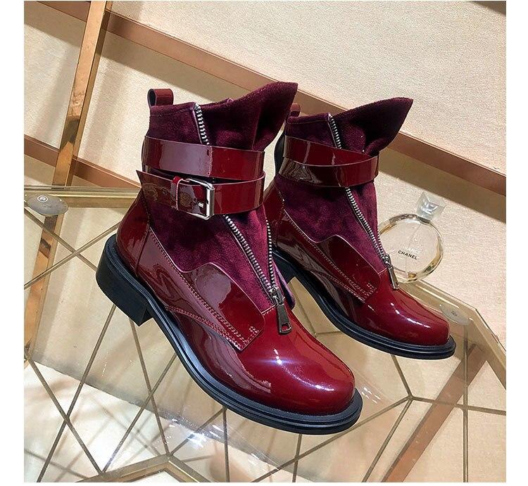 Feminino Nouveau Talons Boucle En Pour Cuir Mujer Bottines Med Militaires De Pic Bottes Courtes as As Pic Automne Hiver Zapatos Sapato Femmes FwxXrp6Fq