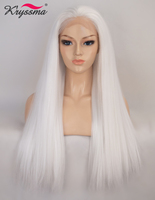 Kryssma Synthetic Lace Front Wig White Long Straight Cosplay Wigs For Women 22''Inches Wigs Long Ombre Heat Resistant Fiber Wigs