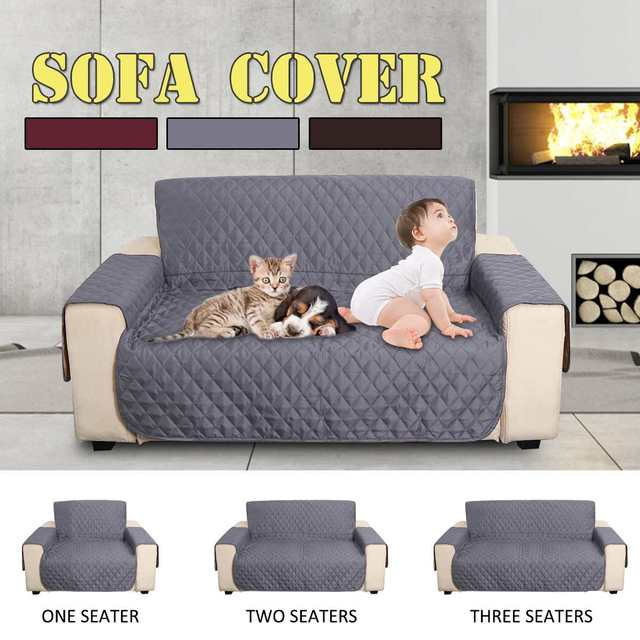 Waterproof 1/2/3 Seaters Sofa Cover Quilted Anti Slip Couch Chair ...