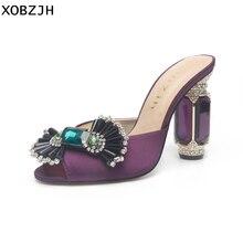 Summer Sandals women Shoes 2019 Luxury Rhinestone Open Toe Wedding Ladies Slip On High Heel Purple Woman