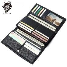 Cartera de cuero genuino para hombre, billetera masculina de estilo Vintage, 100% de cuero genuino en Color negro, 2020