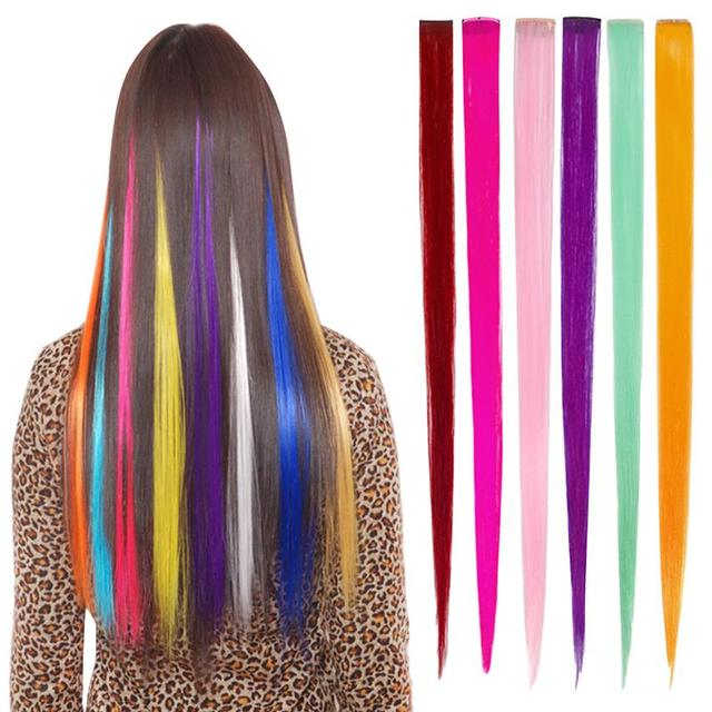 Women's Colored Hair Pieces with Clip Color Changing Hair Extensions Fashion Hairpieces