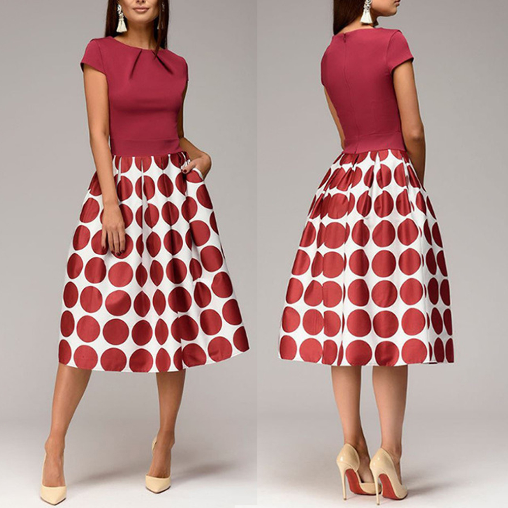 Women Vintage Casual Polka Dot Patchwork Wave Point Lady Sundress Dresses Round Neck Slim Fit Midi A line Swing Dress Vestidos in Dresses from Women 39 s Clothing