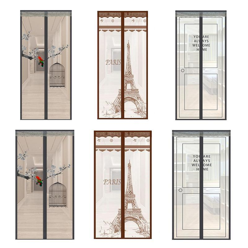 Magnetic Mosquito Net Screen Paris Tower Door Curtain Dust-Proof Summer Bedroom Door Transparent Gauze Curtain Home Decoration