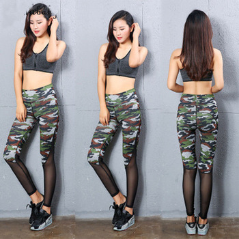 Women High Waist Leggings Casual Stretch Camouflage Mesh Fitness Legging Trousers S-XXXL 1