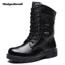 Hot! Genuine Leather Snow Boots Men Waterproof Imitation Fur Mid-calf Man Winter Keep Warm Outdoor Shoes Big Size 6-12