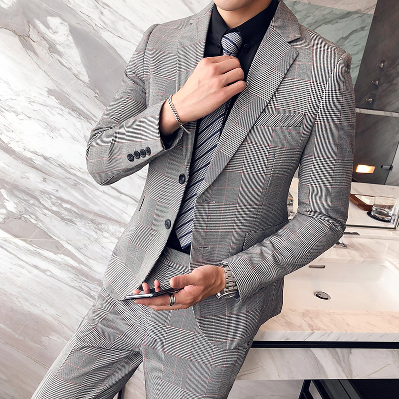 Suit men's suits slim Korean version of the young British wind night plaid wedding casual suit male houndstooth (shirt + pants)