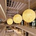 Бамбук  ротанг и пеньковый шар люстра индивидуальное творчество Сферический ротанговый гнездо абажур