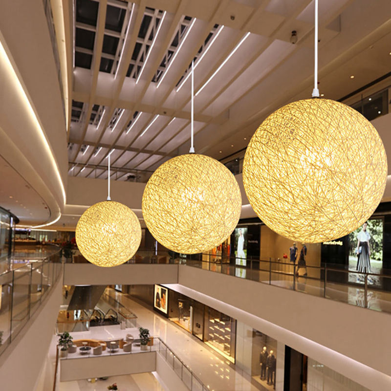 Bamboo, Rattan And Hemp Ball Chandelier Individual Creativity Spherical Rattan Nest Lampshade