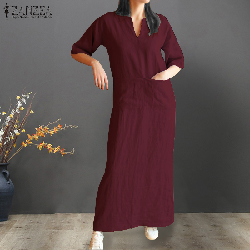 2019 Summer Dress Women Short Sleeve Vestidos Vintage Ladies Baggy Pockets Long Maxi Vestido Party Beach Kaftan Robe Plus Size
