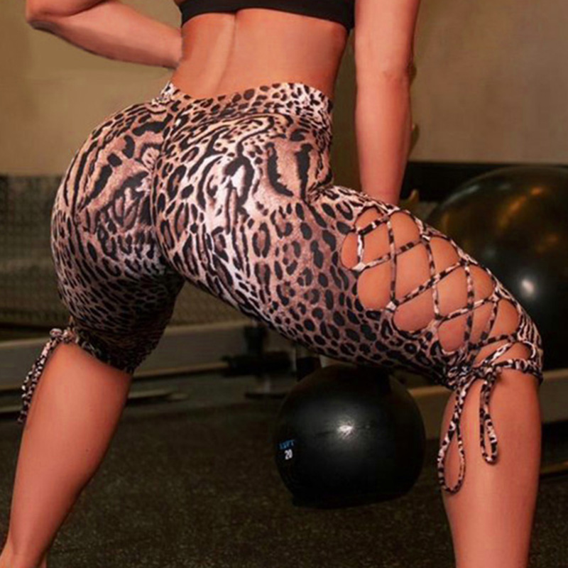 Women Sexy Slim Leggings Bandage Hollow Side Leopard Pants Keen-length Summer Fitness Hips-wrapped Ladies Cropped Capri Trousers