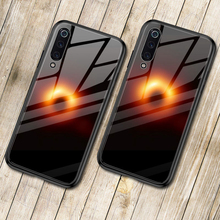 Tempered Glass Case For Xiaomi Mi 9 SE Luxury Black Hole Collapsar Soft TPU Hard Cover Mi9 Shockproof