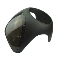 Universal 7 Handlebar Headlight Windshield Fairing Screen For Harley Cafe Racer with Smoked lens