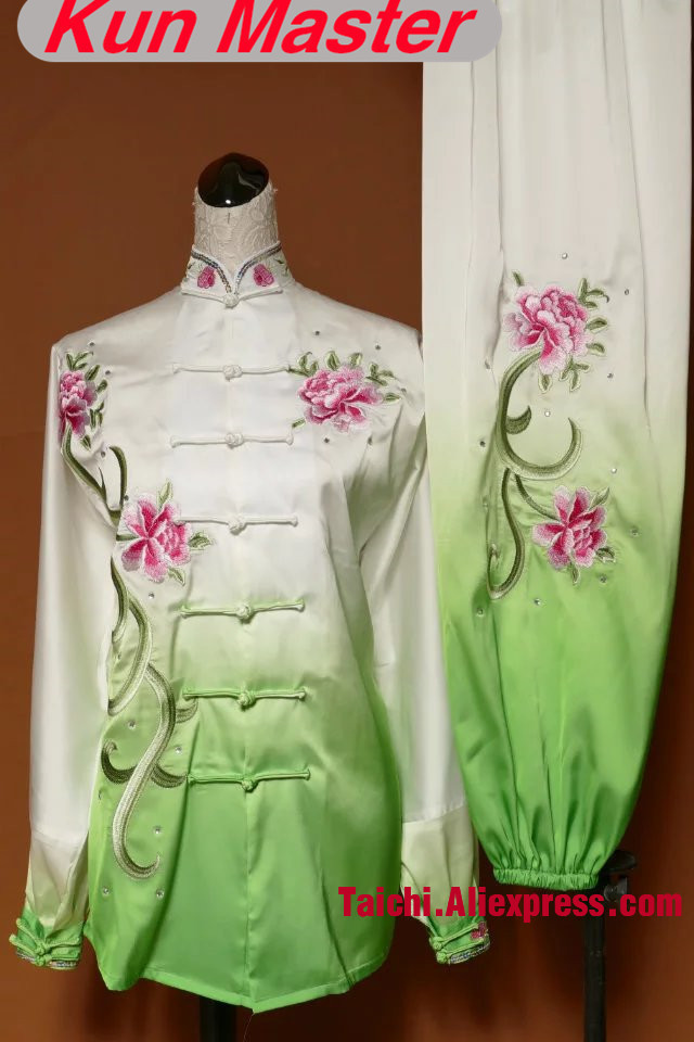 LadyCustom Tai Chi Performance Uniform Peony Embroidery  Note Height And Weight Gradual Change Color Violet Pink Green