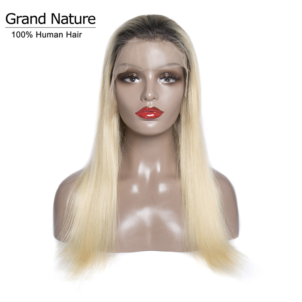 1b/ 613 Full Lace Wig With Baby Hair Light Blonde 150% Density Brazilian Straight Remy Hair Wig Pre Plucked Natural Hairline