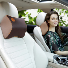 Leather Pillow Neck to Ease Fatigue Auto Headrest Lumbar Support pillow for car seat