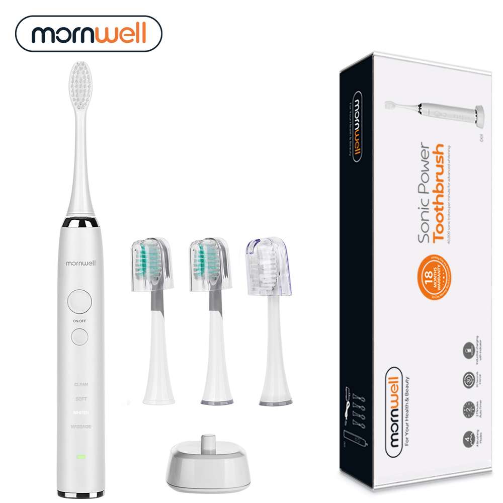 Electric Toothbrush Rechargeable Sonic Toothbrush 4pcs Replacement heads Waterproof Whitening Teeth for Adults Deep Clean Teeth portable electric sonic toothbrush for adults waterproof rechargeable tooth timer teeth brush with 4pcs replacement heads 44