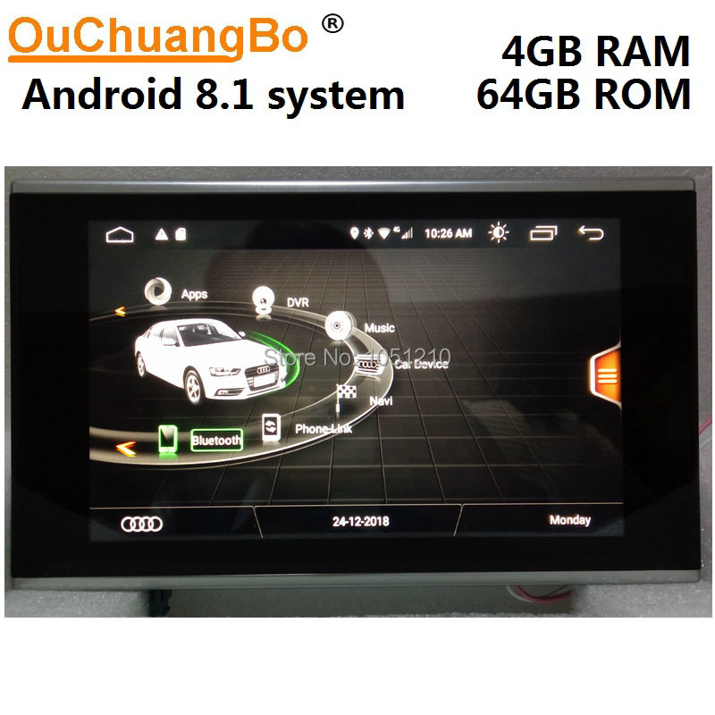Ouchuangbo Android 9.0 radio audio player gravador para A7 A6 C7 2012-2016 com 8.4 polegada de navegação gps multimídia GB + 64 4 GB