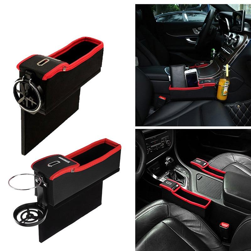 2PCS Car Seat Gap Slit Pocket Phone Coin Card Storage Organizer Bag PU Leather