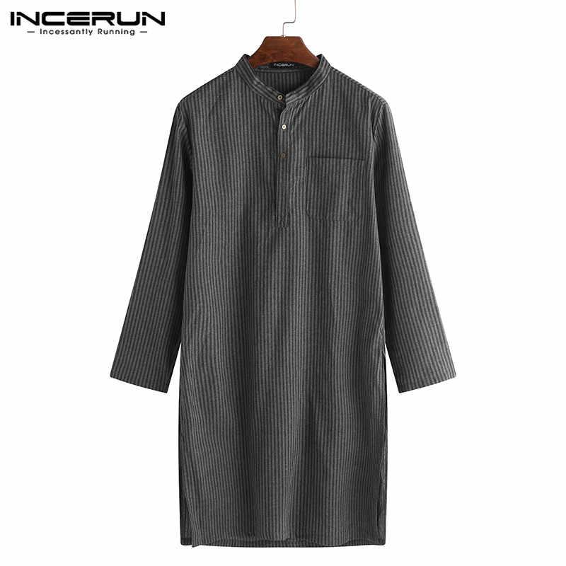 Moda rayado Thobe Jubba indio hombres Robe Thobe camisas traje de manga larga saudí vestido árabe musulmán Thobe camisas islámicas camisa