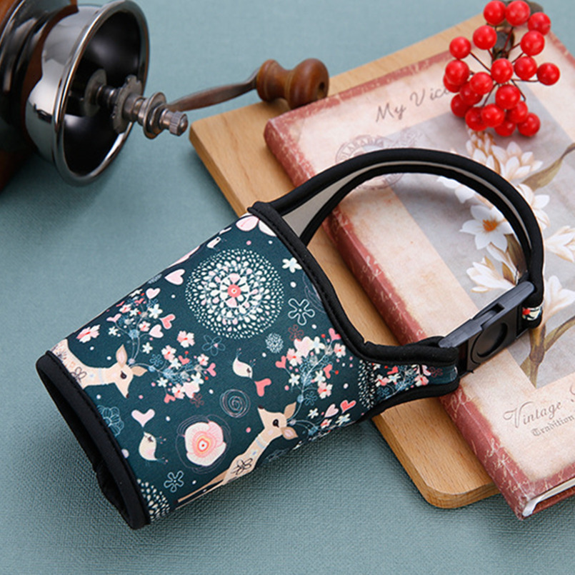 Portable Cloth Cup Bag Water Bottles Cover Case Sleeve Carrier Warm Heat Insulation Anti-scalding Handle Water Bottle Bag