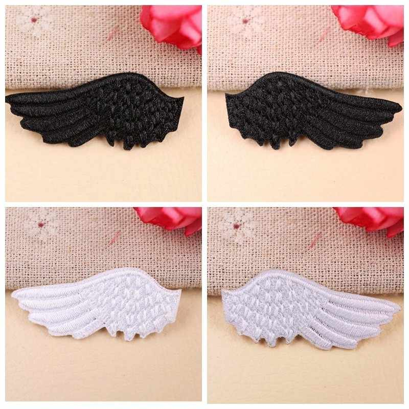 Fine Angel's Wings Patches Cute White And Black Embroidered Ironing Stickers Patches For Clothes Iron On Patches Parches Decor