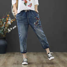 High Waist Jeans Woman Loose Holes Ripped Denim Pants Female Vintage Floral Embroidery Denim Trousers Femme Plus Size 3XL 3xl plus size retro national fashion embroidery loose denim trousers 2016 autumn hand white wash jeans w1259 free shipping