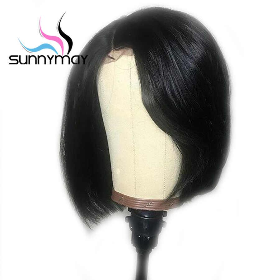 Sunnymay 13x6 Синтетические волосы на кружеве человеческих волос парики предварительно сорвал боб парик с боковой челкой прямые волосы Реми бразильский Синтетические волосы на кружеве парики