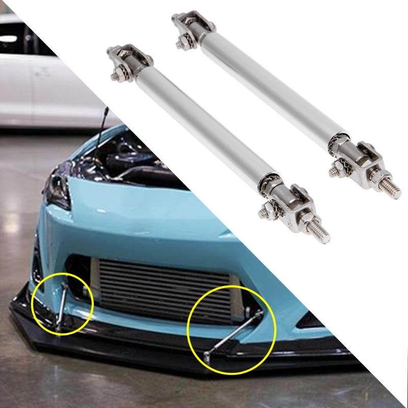Black Adjustable Front Bumper Lip Splitter Steel Strut Rod Tie Support Bar