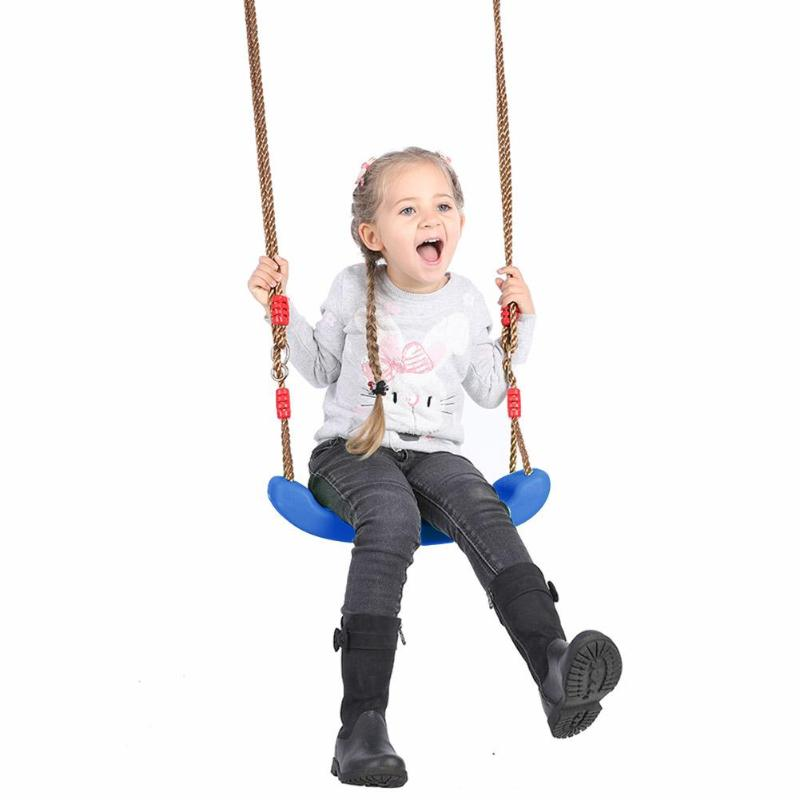 Plastic Garden Swing Kids Hanging Seat Toys With Height Adjustable Ropes Swing Games Family Fun Kids Activity Props Kids Gifts