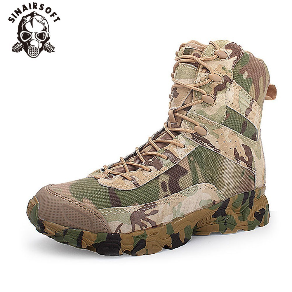 SINAIRSOFT Echtem Leder Outdoor Sport Armee männer Taktische Stiefel CP Camo Männlichen Kampf winter sneak Military Stiefel Wandern Schuhe