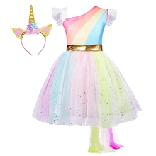 AmzBarley Girls Rainbow Unicorn Costume With Headband Tutu Outfits Fluffy Tulle Birthday Fancy Dress Up Party tutu