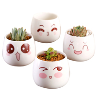 4PCS Retro Cartoon Face Cute Simple Creative Desktop Decoration Flower Pot for Hotel Restaurant Office Home